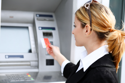 Woman with credit card.